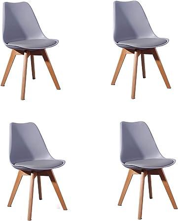 Imagen deComfortableplus Pack de 4 sillas de Comedor/Oficina con Madera de Haya Piernas para Comedor/Sala de Estar/Café/Restaurante, Gris