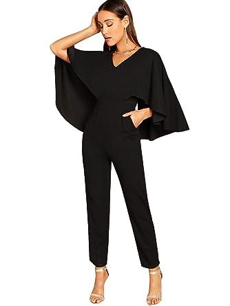 dfc4aead5396 Amazon.com  Romwe Women s V-Neck Solid Cape High Waist Long Pants Jumpsuit   Clothing