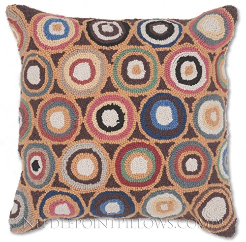 Art Wool Folk (Handmade 100% Wool Decorative Decorative Geometric Folk Art Brown Circles Hooked Throw Pillow. 18