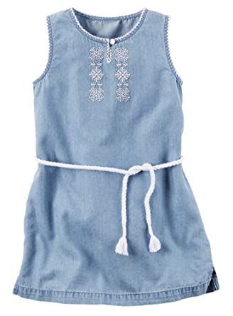 59ad71e568f1 Amazon.com  Carter s© Toddler Girls Embroidered Chambray Dress