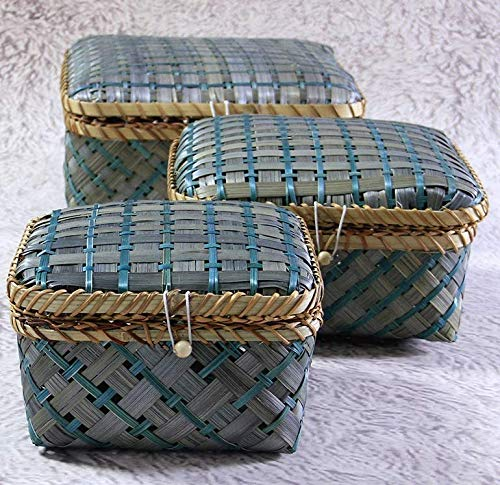 HandyMake Decorative Bamboo Storage Boxes with Lids - Multi Purpose Natural Woven Baskets for Everyday Use - Nested Set of 3 Including Large, Medium and Small Size (Square Shaped - Green Colour)