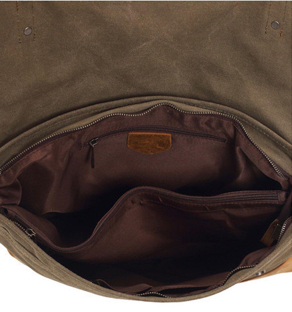 Military Canvas Messenger Bag,Berchirly Men's Vintage Leisure Briefcase Business Shoulder Bag Satchel Handbag for iPad, iPhone, MacBook, Notebooks, Documents, Journals