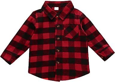 MIOIM reg; Bebè Niños Niñas Camisa de Cuadros Manga Largos con Botones Shirt Tops Blusa: Amazon.es: Ropa y accesorios