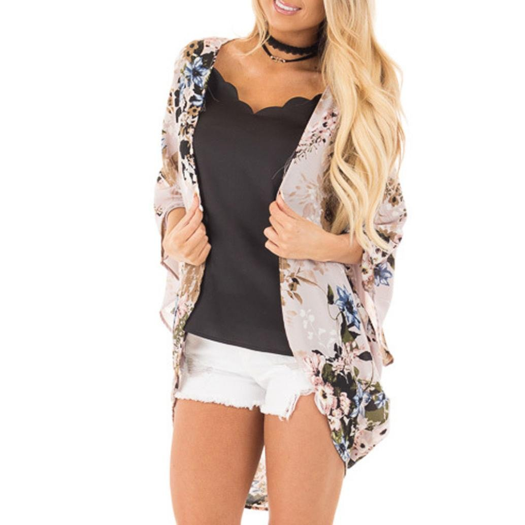 IMJONO Damen Mode Womens Chiffon Schal Drucken Kimono Cardigan Top Cover up Bluse Bademode IMJONO women Jul.02