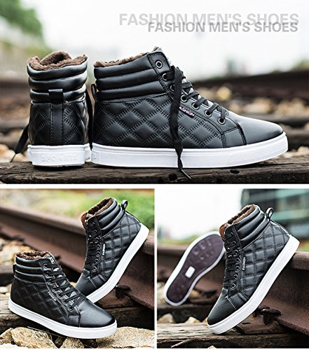 Sneakers Snow Boots Men High boots Black winter Boot Winter Lining Up Chukka with Shoes Gaorui Lace Ankle Fur Top xw8qtdqIz
