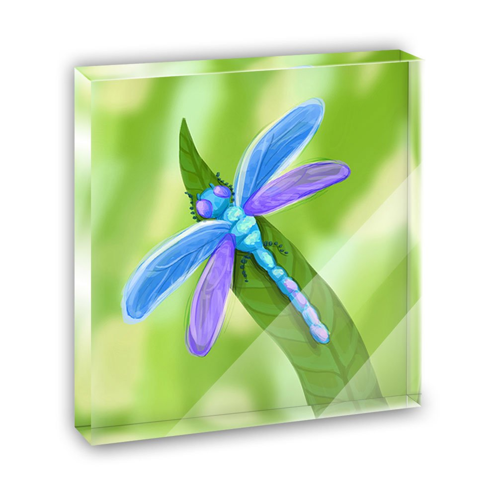 Watercolorful Dragonfly Acrylic Office Mini Desk Plaque Ornament Paperweight