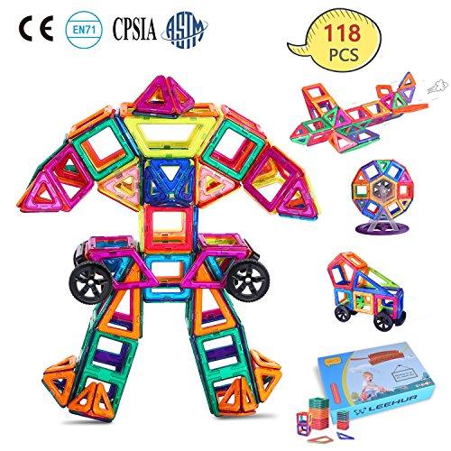 LEEHUR Magnet Building Blocks, 118 Pcs Magnetic Tiles -100 Model- STEM Educational Toys Preschool Activities Supplies with Storage Bag Creative Fun Science Kit Gifts for Kids Boys Girls