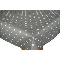 Karina Home Slate Grey Polka Dotty Wipe Clean Tablecloth Vinyl