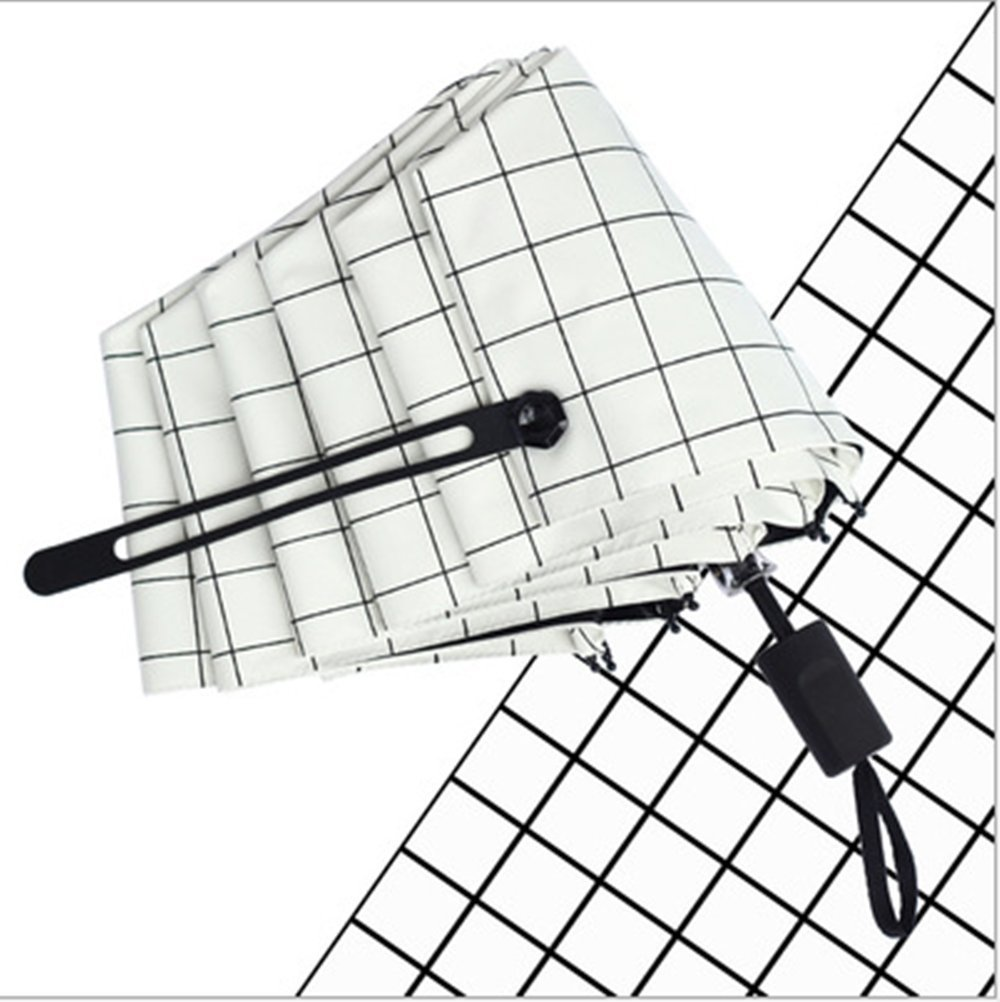 Creative Fashion Tri-Fold Manual Umbrella, waterproof, windproof and UV resistant, suitable for both sunny and rainy days (White)