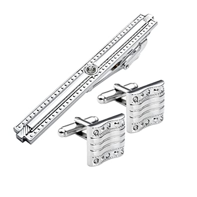Jovivi 3pc Set Stainless Steel Exquise Mens Cufflinks /& Tie Clip Pin Set Gold Rectangle Design w//Box
