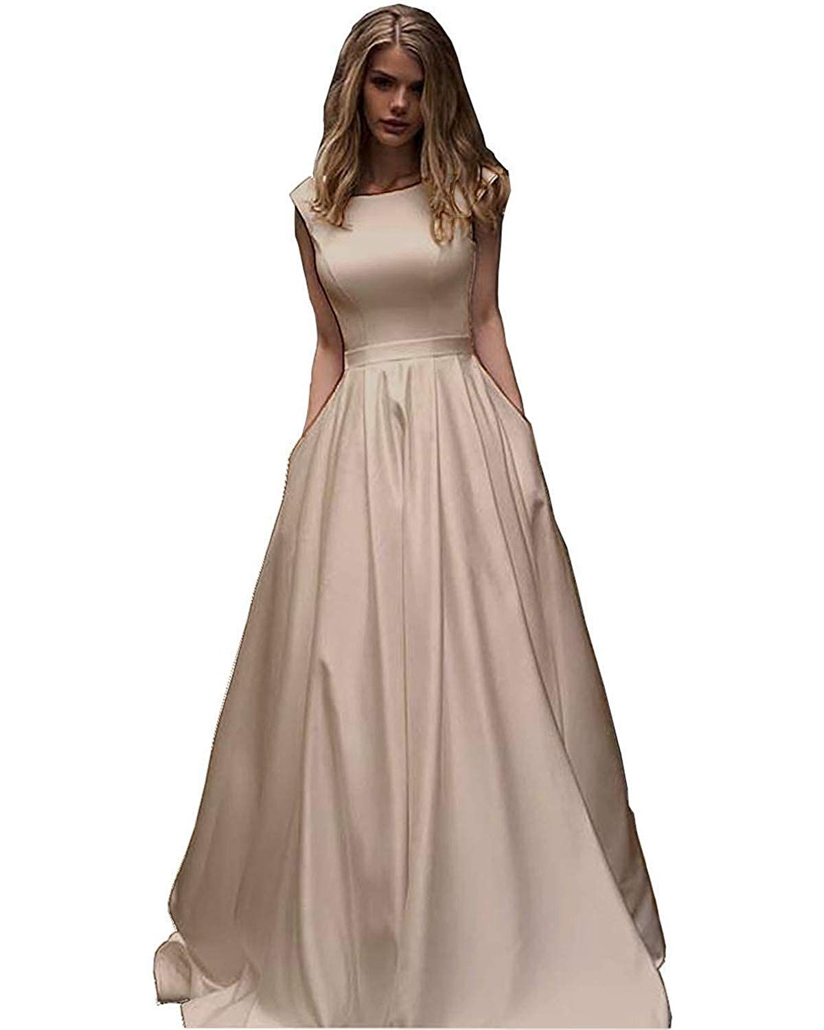 Champagne CCBubble Womens Long Satin Prom Dresses Scoop Neck Formal Evening Wedding Party Dress
