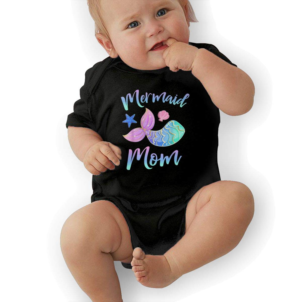 Mermaid Mom Baby Boys Girls Jumpsuit Overall Romper Bodysuit Summer Clothes Black 2