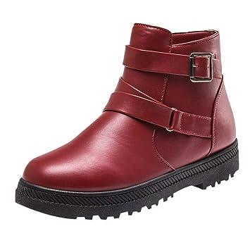 f47c2085b1ed Unisex Damen Stiefeletten Worker Boots Profilsohle Schlupfstiefel Warm Boots,  Reißverschluss Runde Toe Schuhe Solide warme