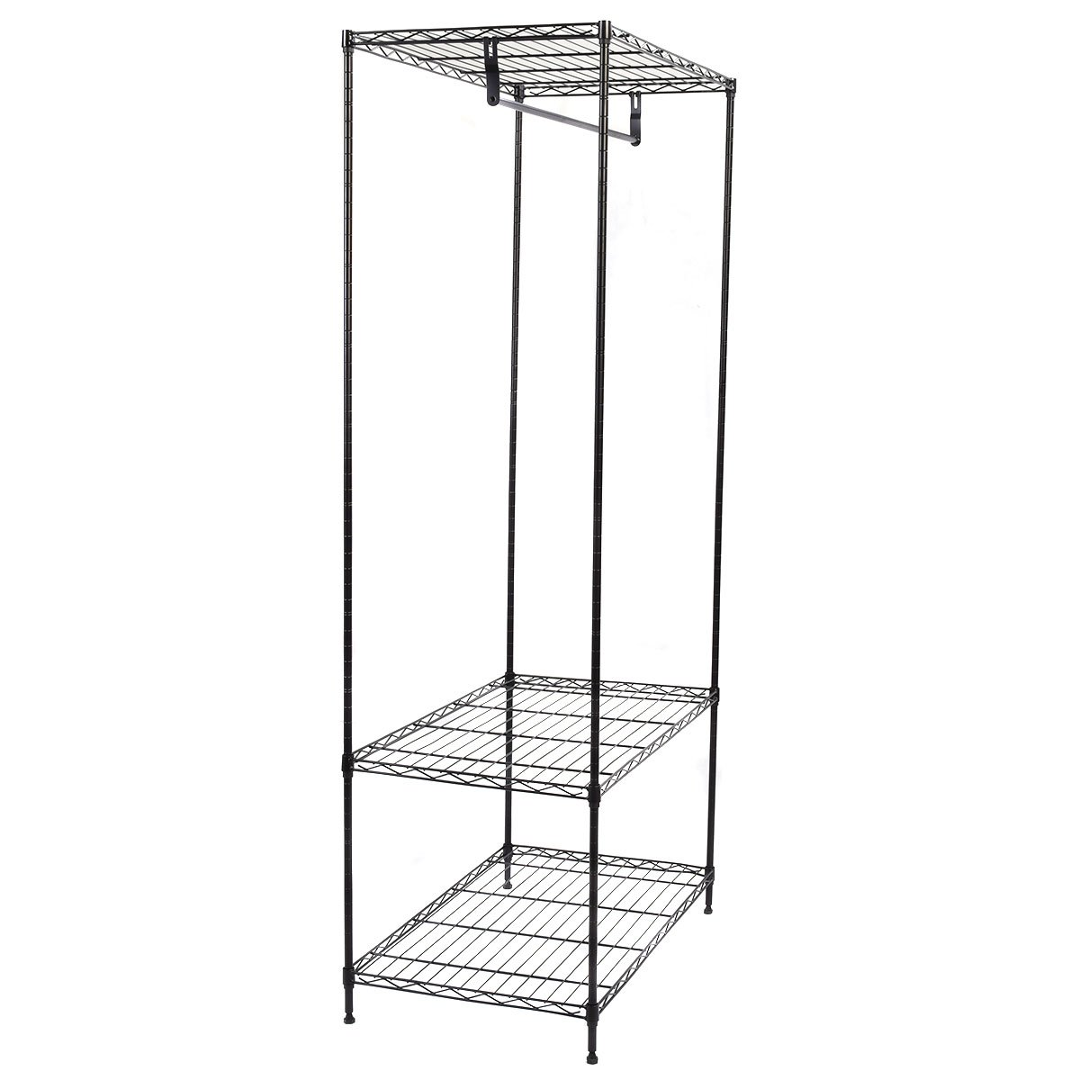 3-Tier Clothing Garment Rack Hanger Shelving Wire Shelf Dress Portable Wardrobe New