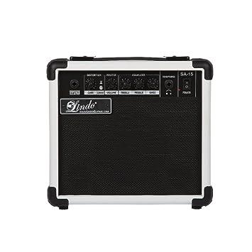 Lindo SA-15 Series 15W amplificador de 2 canales de la guitarra eléctrica con sonido doble Puertos - Blanco: Amazon.es: Instrumentos musicales