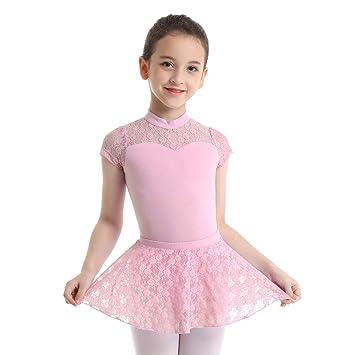 dPois - Maillot de Ballet de Dos Piezas para niña, de Manga Corta ...