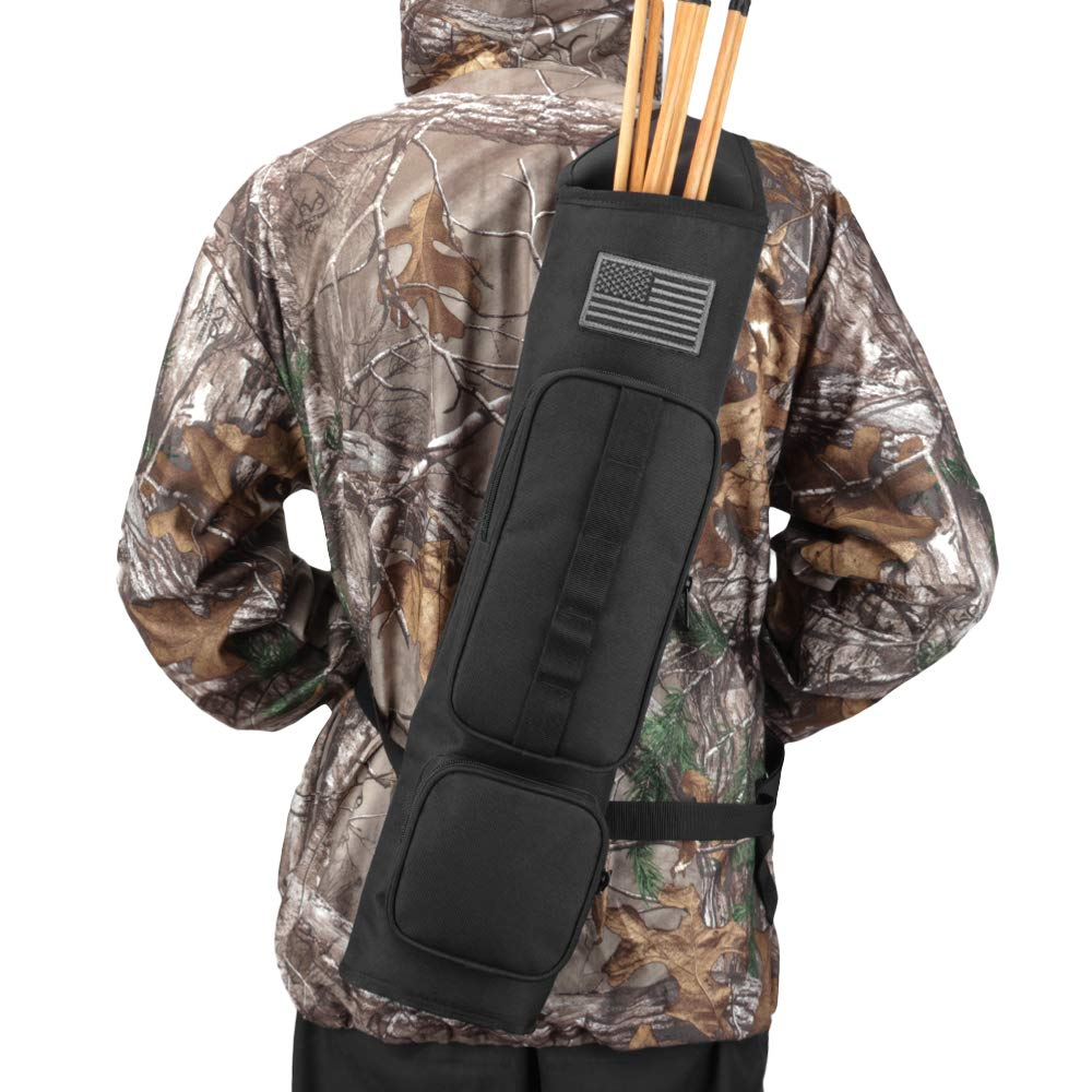 Kratarc Back Arrow Quiver Archery Field Quiver Shoulder Hanged Carry Hunting Target Arrow Quiver Bag with 2 Pockets (Black) by Krayney