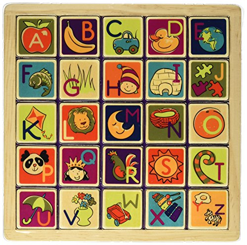 B. Toys - Magnetic Alphabetic - Double-Sided 2-in-1 Magnetic Alphabet Puzzle Board with Chalkboard - Classic Wooden Alphabet Puzzle Board - Learning Toys for Toddlers with 26Piece ()