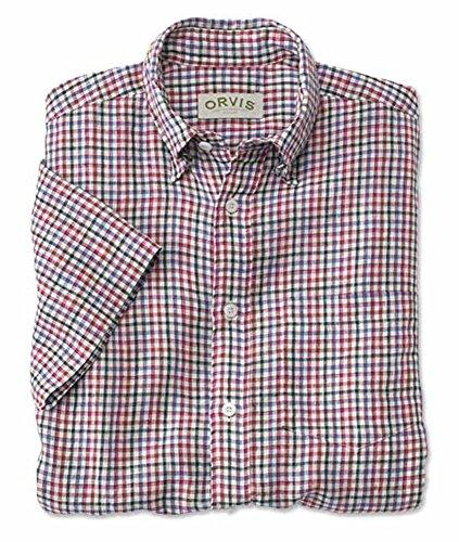 Orvis Men's Country Linen Short-sleeved Shirt, Multi Check, Medium