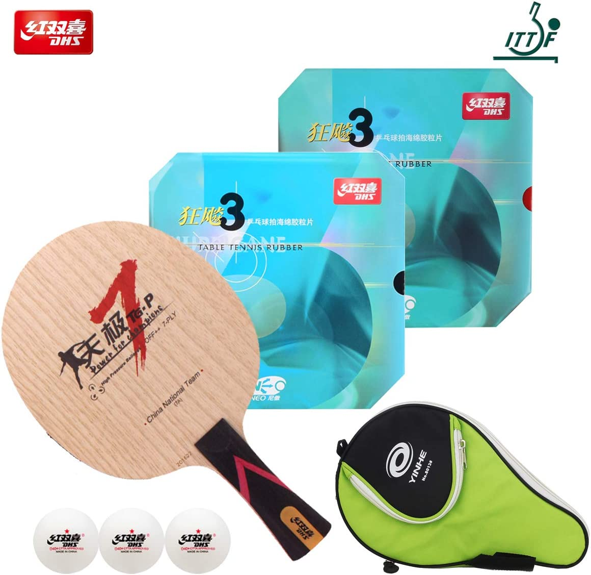 DHS Hand Assembled Professional Table Tennis Racket - Professional Ping Pong Paddle Combination TG7-P Table Tennis Blade Neo Hurricane 3 Table Tennis Rubber – ITTF Approved Tournament Ping