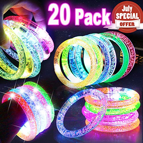 20 PACK LED Bracelets Light Up Toys, Bulk Glow in the Dark Supplies Prime Deal for Graduation Carnival Concert Party Favors Flashing Bracelet, LED Glow Bracelets Party Accessories Games Fun Events]()