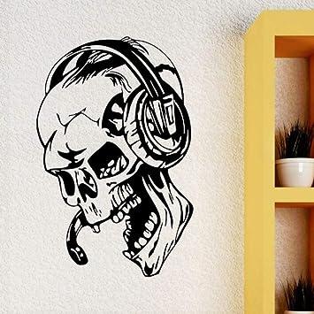 Mhdxmp Pegatinas De Pared Gamer Skull Music Auriculares Tatuajes ...