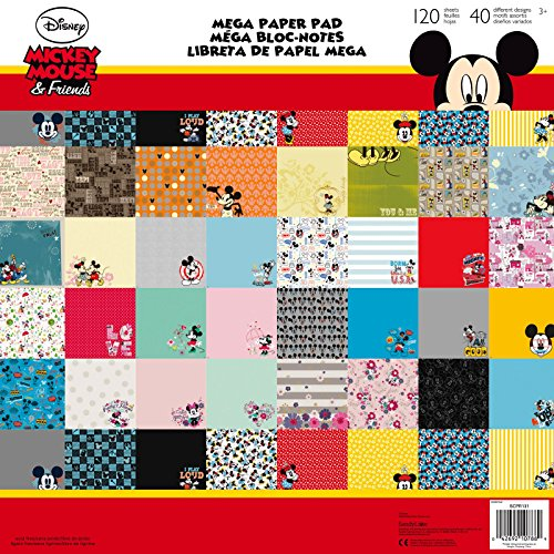 Disney Mickey Mouse & Minnie Mouse Mega Paper Pad 120 Sheets with 40 Different (Disney Minnie Mouse Scrapbook)