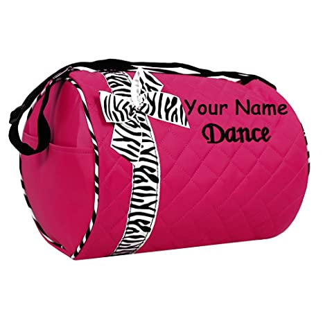 6ff5014fcee3 Image Unavailable. Image not available for. Color  Personalized Quilted Hot  Pink and Zebra Dance Duffel Gym Bag