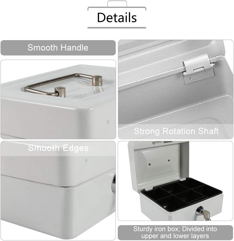 Colore : Noir Mini Safe Cassaforte con Chiave in Acciaio con Lock Cash Box per Biglietti a 4 Colori