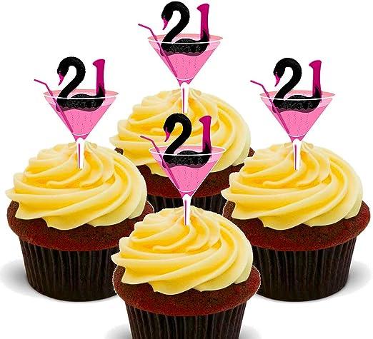 24 X 21 YEARS BLUE ANNIVERSARY BIRTHDAYEDIBLE CUPCAKE TOPPERS PREMIUM RICE PAPER