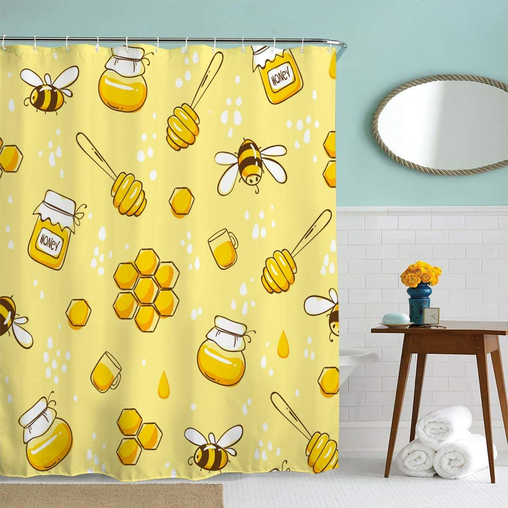 IcosaMro Yellow Shower Curtain for Bathroom with Hooks, Flying Bees Cute Colorful Honey Funny Decorative Long Cloth Fabric Shower Curtain, 71x72 Inches