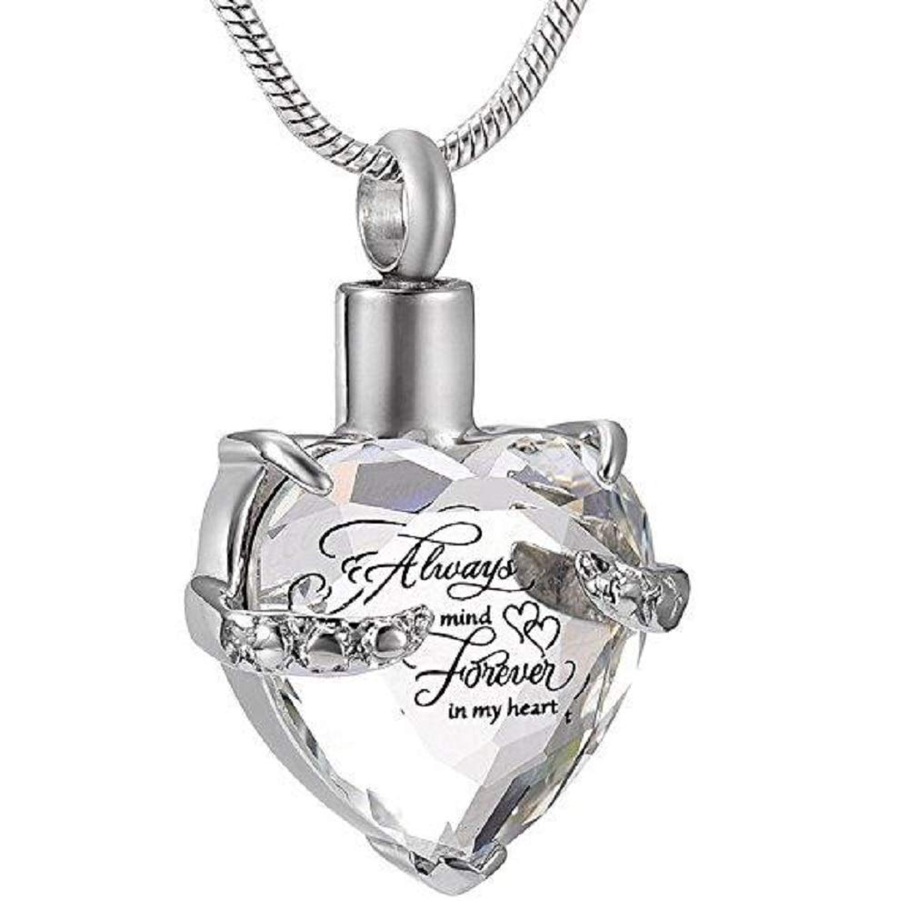 White Stone Kirijewels Personalized Crystal Cremation Always in My Heart Urn Necklace Pendant with Chain