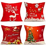 CHARMHOME Christmas Pillow Covers Set of 4 Throw Pillow Cases 18x18 for Home Car Decorative