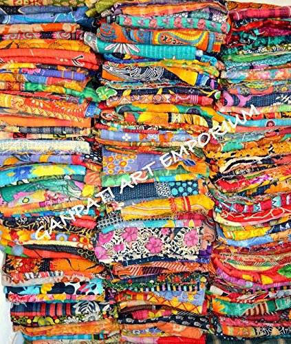 10 PC Lot Wholesale Vintage Kantha Quilt Throw Blanket Bedding India Bedspread by Handmade