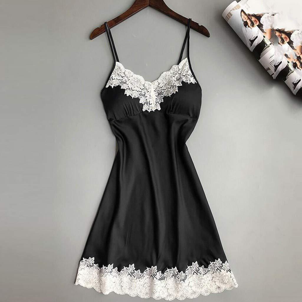 Women Lingerie V Neck Nightwear Satin Sleepwear Lace Trim Chemise Mini Teddy Babydoll Chemise Black by baskuwish (Image #2)
