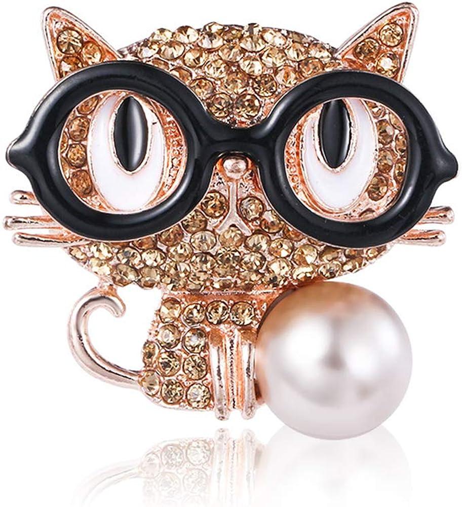 Prettyia Crystal Cute Black Eyed Kitten Diamond Brooch Pin Cat Collar Brooch