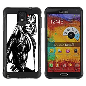 Hybrid Anti-Shock Defend Case for Samsung Galaxy Note 3 / Cool Woman, Skull & Rose