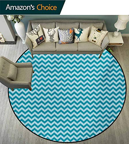 RUGSMAT Chevron Non-Slip Area Rug Pad Round,Zigzags in Sea Colors Ocean Waves Nautical Theme Sailboat Design Sea Breeze Protect Floors While Securing Rug Making Vacuuming,Diameter-63 - Sea Rug Breeze Tiles