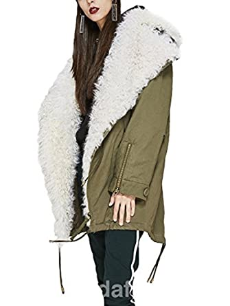b8a2a91d342 Image Unavailable. Image not available for. Color: Moda Furs Women's  Military Style Army Green Winter Coat With White Mongolian Lamb Fur