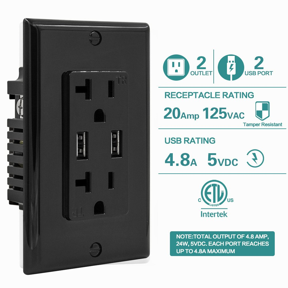 Wall Electrical Outlet with 5V/4.8A Dual High Speed USB Charger, 20A ...