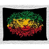 Rasta Tapestry by Ambesonne, Ethiopian Flag Colors on Grunge Sketchy Lion Head with Black Backdrop, Wall Hanging for Bedroom Living Room Dorm, 80 W X 60 L Inches, Light Green and Yellow