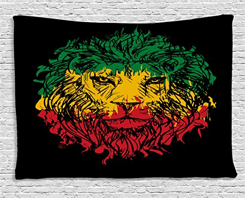 Ambesonne Rasta Tapestry, Ethiopian Flag Colors on Grunge Sketchy Lion Head with Black Backdrop, Wide Wall Hanging for Bedroom Living Room Dorm, 60