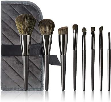 Set de pinceles de maquillaje-8 piezas Mango de madera Herramientas de belleza Pinceles de maquillaje profesionales Cosméticos esenciales con estuche, Brochas de maquillaje en polvo para el rostro Ki: Amazon.es: Salud y