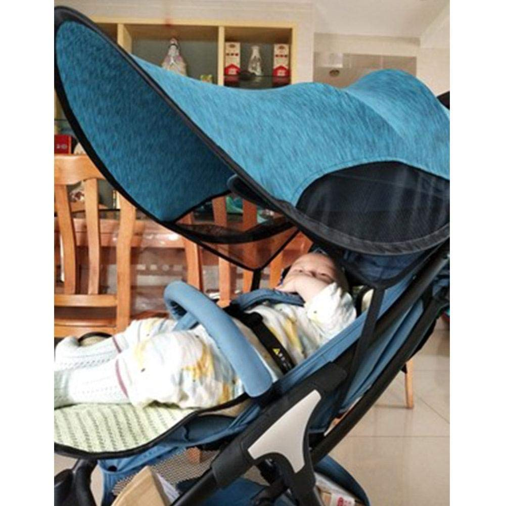 ZLMI Sunshade for Baby Stroller Universal pram pushchairs Buggy Sun Shade Parasol Sunscreen Cover Thickened Steel Wire Strip,Blue by ZLMI (Image #7)