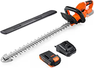 Cordless Hedge Trimmer, 22-Inch Hedge Trimmer, 20V Battery and Charger Included, Rotating Rear Handle, 0.74-in Cutting Gap, with Blade Cover, for Hedges, Shrubs and Bushes Cutting-DHT1A