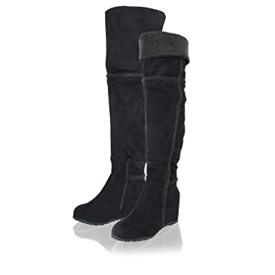 9ad3afba2ea Womens Ladies Over The Knee High Long Faux Suede Wedge Heel Winter Boots  Shoes