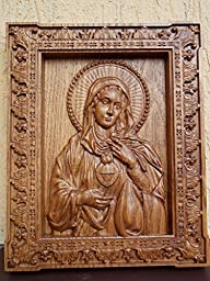 Immaculate Heart of Mary Catholic Icon Durable unique christian gift Wood Carved religious wall plaque FREE ENGRAVING FREE SHIPPING