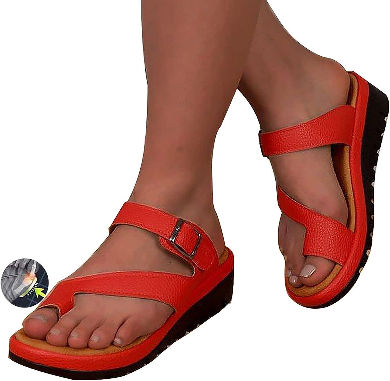 DYHOZZ Sandalias para Mujer Zapatillas de Verano Premium Cómodas Ortopédicas, Zapatos de Tacón Plano Sandalias con Chanclas de Viaje en la Playa 2021 Sandalias Cómodas con Plataforma