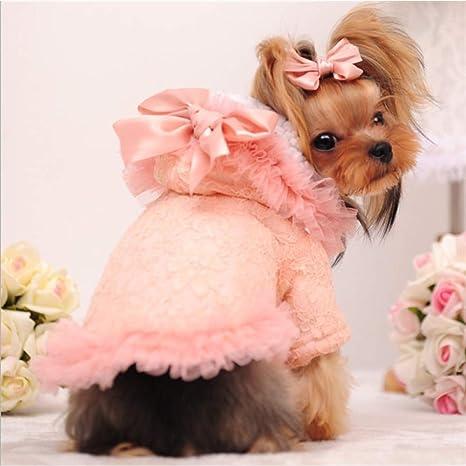 TYJY Chica Ropa para Perros Ropa De Invierno para Mujer Abrigo De Perro Rosa Encaje Lindo