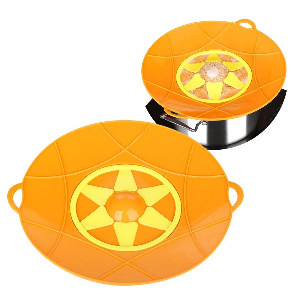 Kalrede Silicone Spill Stopper Boil Over Preventer Splatter Guard Pot Pan Lid Cover 12.6-inch diametter (Orange) ULKNN1708